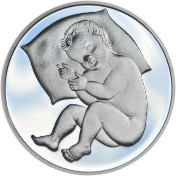 Stříbrný medailon k narození dítěte 2018 - 28 mm - 1