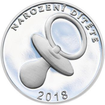 Stříbrný medailon k narození dítěte 2018 - 28 mm, Stříbrný medailon k narození dítěte 2018 - 28 mm - 1