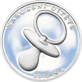 Stříbrný medailon k narození dítěte 2015 - 28 mm, Stříbrný medailon k narození dítěte 2015 - 28 mm - 1
