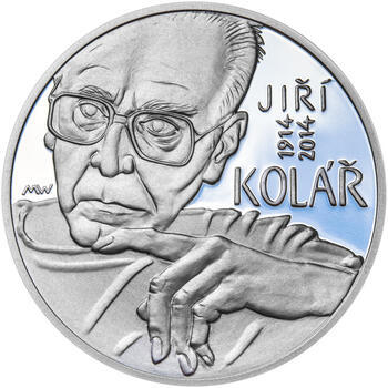 JIŘÍ KOLÁŘ – návrhy mince 500 Kč - sada tří Ag medailí 34 mm Proof v etui - 2