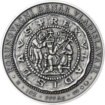 Korunovace Vladislava II. českým králem - stříbro patina - 2