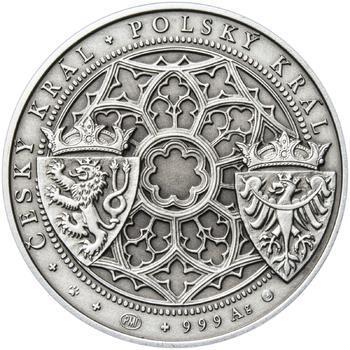 Korunovace Václava II. českým králem  - stříbro patina - 2