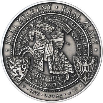 Korunovace Přemysla Otakara II. českým králem -  stříbro patina - 2