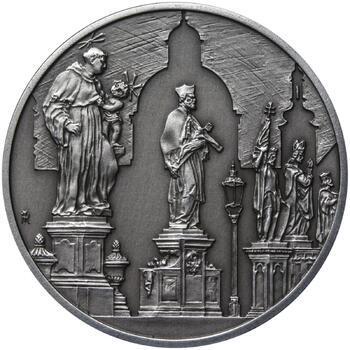 Královské hlavní město Praha - stříbro 28 mm patina - 2