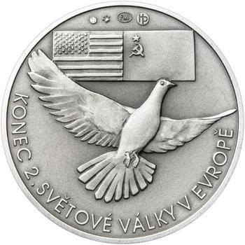 Osvobození Československa 8.5.1945 - 28 mm stříbro patina - 2