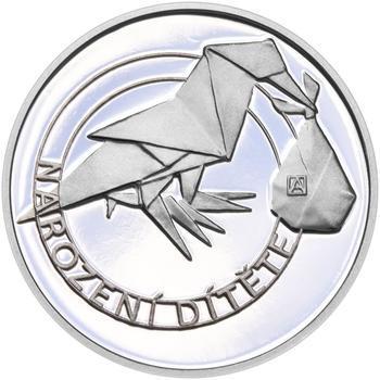 Stříbrný medailon k narození dítěte - origami 2019 - 28 mm, Stříbrný medailon k narození dítěte - origami 2019 - 28 mm - 2