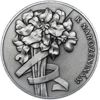 Vše nejlepší k narozeninám 50 mm stříbro patina - 2