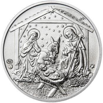 Vánoce 50 mm stříbro b.k. - 2