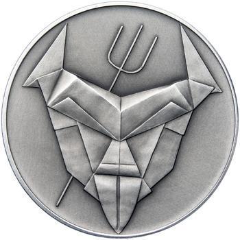 Čert a Mikuláš českého kubisty 25 mm stříbro patina - 2