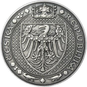 Nejkrásnější medailon III. Císař a král - 50 mm Ag patina - 2