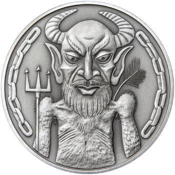 Čert a Mikuláš 25 mm stříbro patina - 2
