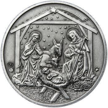 Vánoce 25 mm stříbro patina - 2