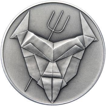 Čert a Mikuláš českého kubisty 50 mm stříbro patina - 2