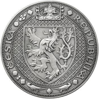Nejkrásnější medailon II. - Královská pečeť - 50 mm Ag patina - 2