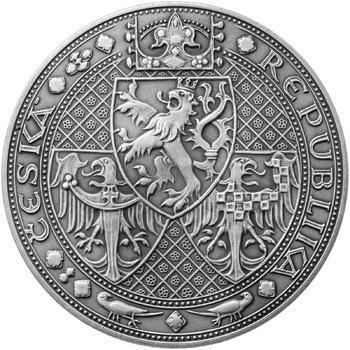 Nejkrásnější medailon I. Nové Město pražské - 50 mm Ag patina - 2