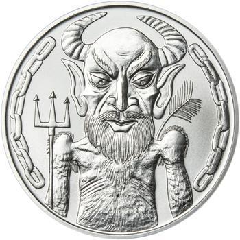 Čert a Mikuláš 25 mm stříbro b.k. - 2