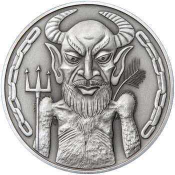 Čert a Mikuláš 50 mm stříbro patina - 2