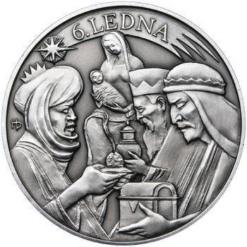 Tři králové 25 mm stříbro patina - 2