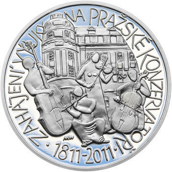 PRAŽSKÁ KONZERVATOŘ – návrhy mince 200 Kč - sada tří Ag medailí 34 mm Proof v etui - 2