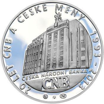 20 LET ČNB A ČESKÉ MĚNY – návrhy mince 200,-Kč - sada tří Ag medailí 34mm Proof v etui - 2