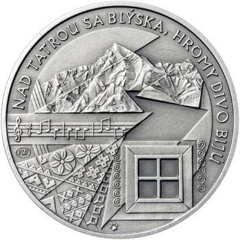 Nad Tatrou sa blýska - 28 mm stříbro patina - 2
