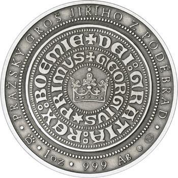 550 let od korunovace Jiřího z Poděbrad českým králem - stříbro patina - 2