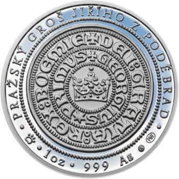 550 let od korunovace Jiřího z Poděbrad českým králem - stříbro Proof - 2