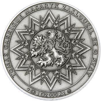 70 let od úmrtí Tomáše Garrigue Masaryka - stříbro patina - 2