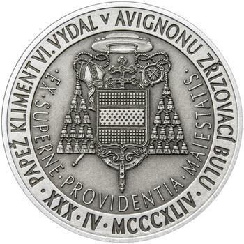 Povýšení pražského biskupství na arcibiskupství - 670 let - 1 Oz stříbro patina - 2
