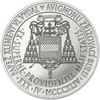 Povýšení pražského biskupství na arcibiskupství - 670 let - 28 mm stříbro b.k. - 2