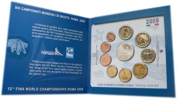 2009 Oběhové mince Itálie + € 5 Rome - XIII FINA World Championships + € 2 10 Years of EMU - 2