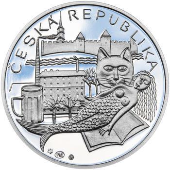 BOHUMIL HRABAL – návrhy mince 200 Kč - sada tří stříbrných medailí 34 mm Proof v etui - 3