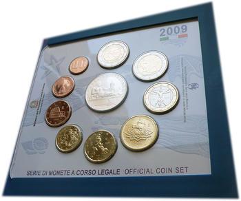 2009 Oběhové mince Itálie + € 5 Rome - XIII FINA World Championships + € 2 10 Years of EMU - 3