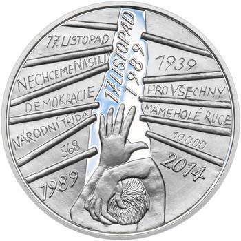 17. LISTOPAD 1989 – návrhy mince 200 Kč - sada tří Ag medailí 34 mm Proof v etui - 4