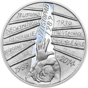 17. LISTOPAD 1989 – návrhy mince 200,-Kč - sada tří Ag medailí 34mm Proof v etui - 4