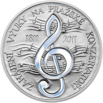 PRAŽSKÁ KONZERVATOŘ – návrhy mince 200 Kč - sada tří Ag medailí 34 mm Proof v etui - 4