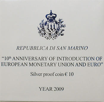 San Marino 10th Ann of EMU and Euro Ag Proof - 4