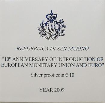 San Marino 10th Ann of EMU and Euro Ag Proof - 4