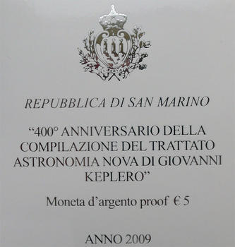 San Marino 400th Ann.of J Kepler's Astr. Nova Treaty Ag Proof - 4