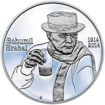 BOHUMIL HRABAL – návrhy mince 200 Kč - sada tří stříbrných medailí 34 mm Proof v etui - 4