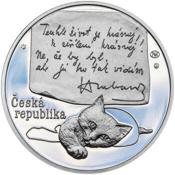 BOHUMIL HRABAL – návrhy mince 200 Kč - sada tří stříbrných medailí 34 mm Proof v etui - 5