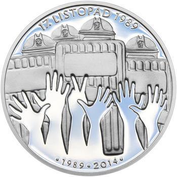 17. LISTOPAD 1989 – návrhy mince 200,-Kč - sada tří Ag medailí 34mm Proof v etui - 6