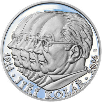 JIŘÍ KOLÁŘ – návrhy mince 500 Kč - sada tří Ag medailí 34 mm Proof v etui - 6