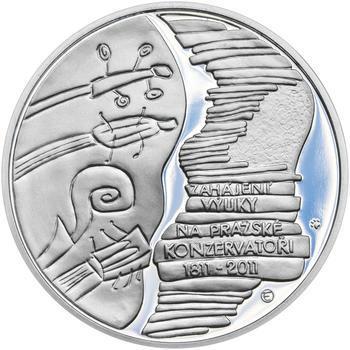 PRAŽSKÁ KONZERVATOŘ – návrhy mince 200 Kč - sada tří Ag medailí 34 mm Proof v etui - 6