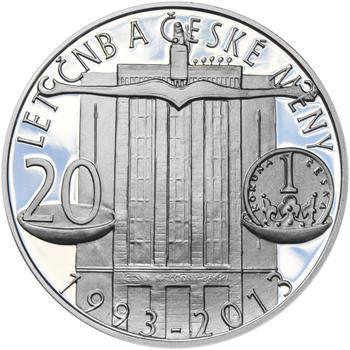 20 LET ČNB A ČESKÉ MĚNY – návrhy mince 200,-Kč - sada tří Ag medailí 34mm Proof v etui - 6