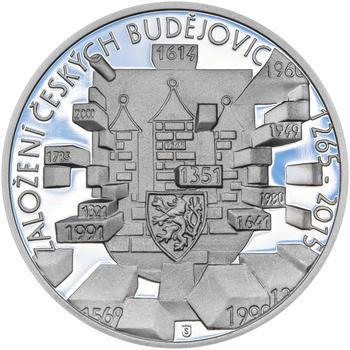 ČESKÉ BUDĚJOVICE – návrhy mince 200,-Kč - sada tří Ag medailí 34mm Proof v etui - 6