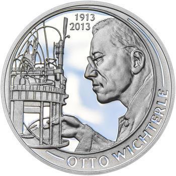 OTTO WICHTERLE – návrhy mince 200,-Kč - sada tří Ag medailí 34mm Proof v etui - 6