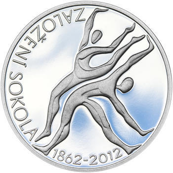 ZALOŽENÍ SOKOLA – návrhy mince 200 Kč - sada tří Ag medailí 34 mm Proof v etui - 6