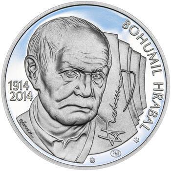 BOHUMIL HRABAL – návrhy mince 200 Kč - sada tří stříbrných medailí 34 mm Proof v etui - 6